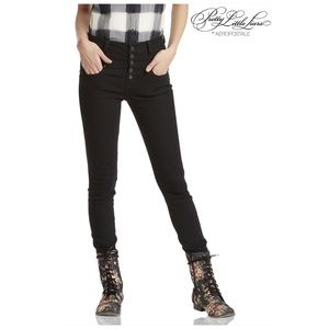 High Rise Black Button Fly Jegging Skinny Jeans 0
